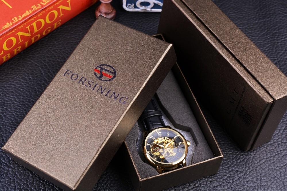 Forsining 3d Logo Design Hollow Engraving Black Gold Case Leather Skeleton Mechanical Watches Men Luxury Brand Heren Horloge 9