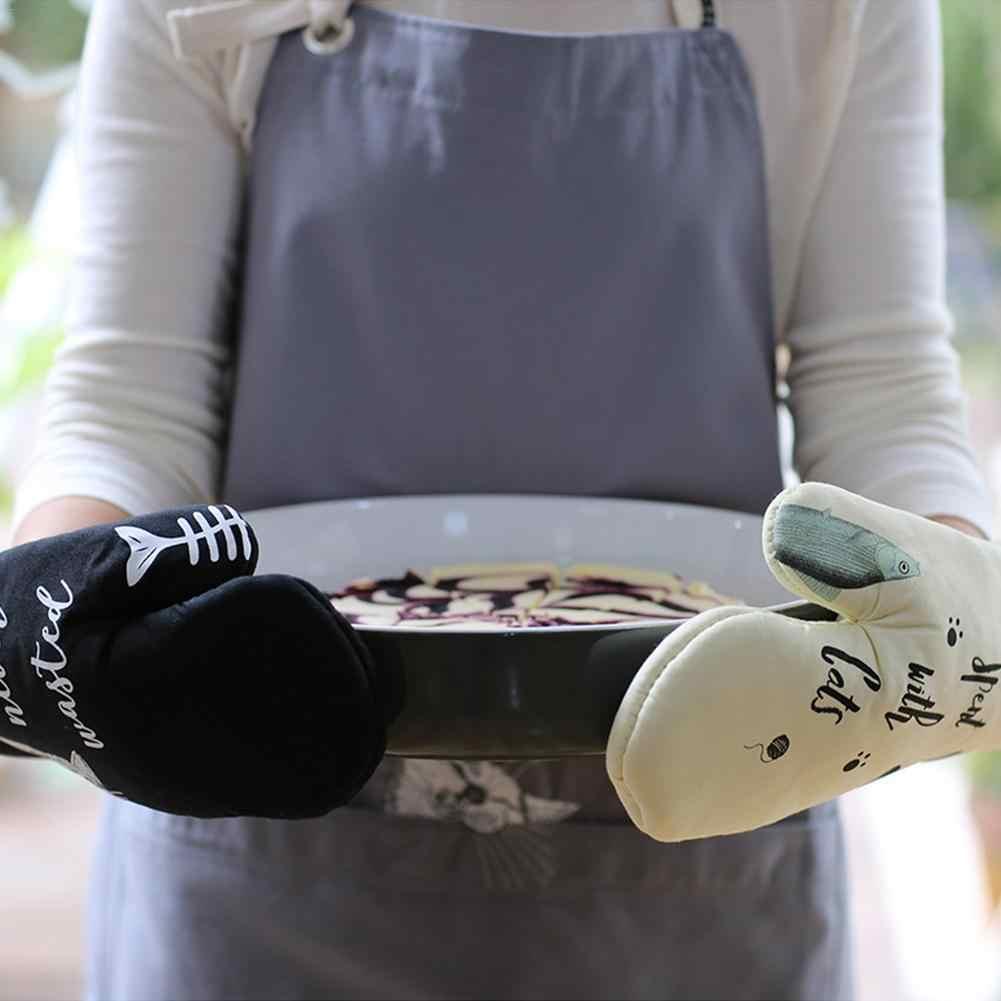 Adorável Gato Algodão Engrossado Luvas Luva de Forno Forno de Microondas Luva Resistente Ao Calor Cozinha Cozinhar Isolado Não-escorregar Luvas