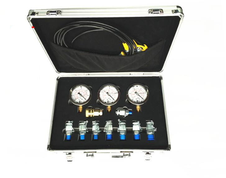 1 set Portable hydraulic test gauge mechanical digger pressure test watch hydraulic test box