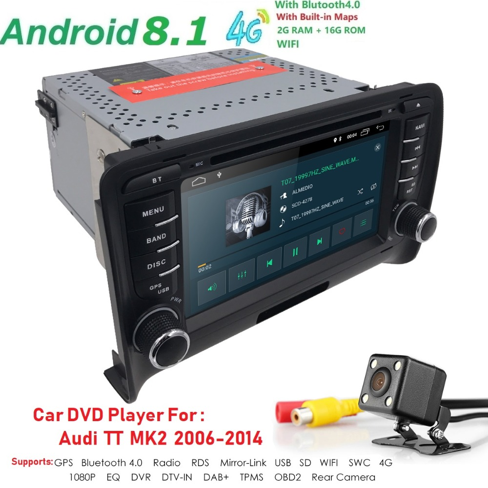 Android 8.1 HD 1024*600 voiture lecteur DVD Radio pour Audi TT MK2 2006-2014 4G WIFI GPS Navigation tête unité 2 din 2 gramme DVR SWC BT - 4