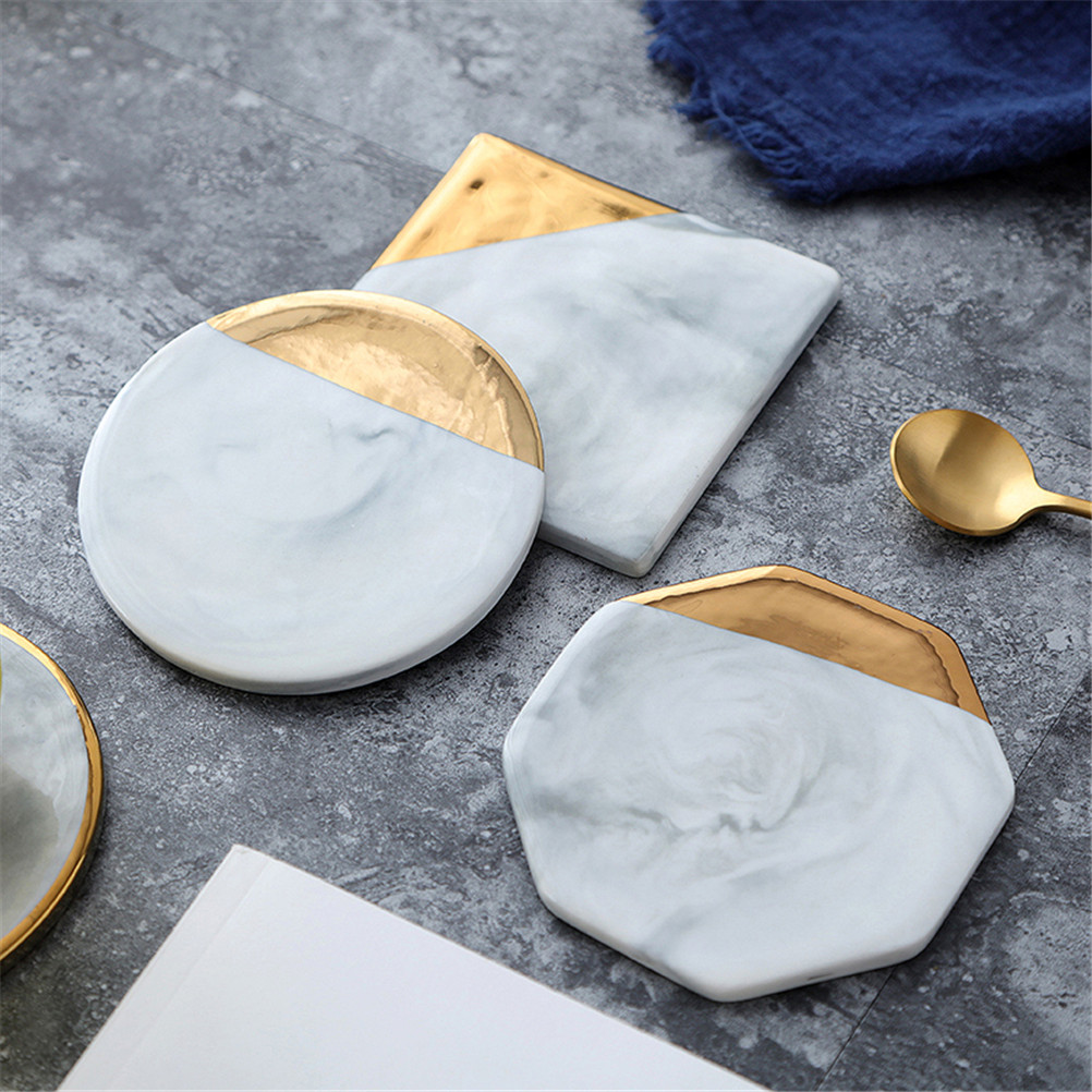 Gold Plating Marble Ceramic Coaster Cup Mats Pads Mug Non-slip Luxury Pad  for Drink Desktop Home Decorations Kitchen Tool