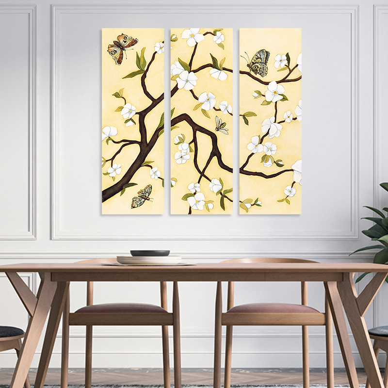 3 Pieces Trees White Flowers Animals Butterfly Decoration Wall Art ...