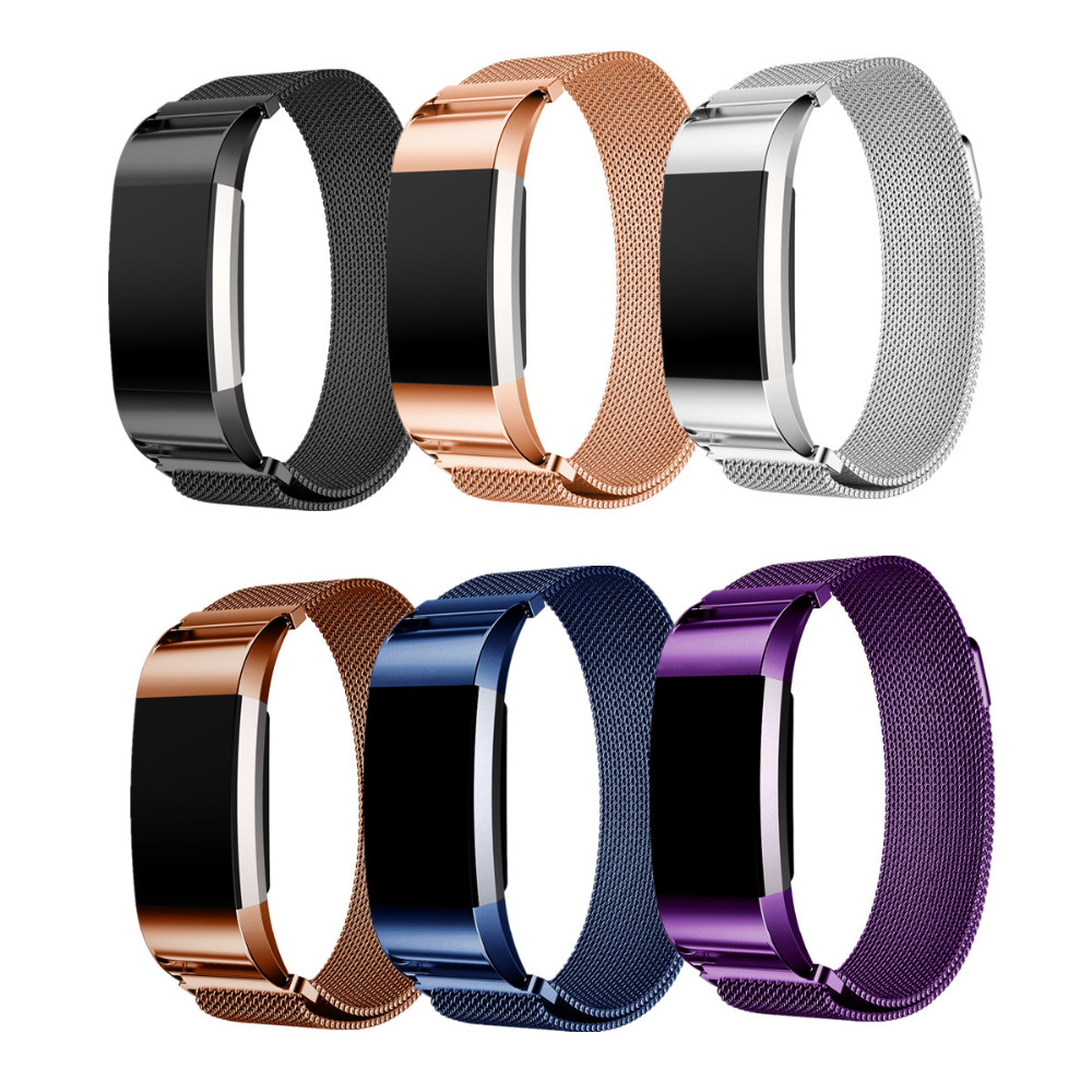 LNOP Milanese Boucle pour Fitbit Charge 2 de courroie de bande Magnétique bracelet remplacement Lien Bracelet En Acier Inoxydable smartwatch Bande