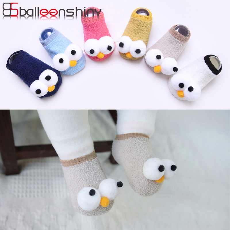BalleenShiny New Arrival Baby Big Eyes Socks Soft Non-slip Cute Spring Autumn Infant Toddler Comfortable Fashion Floor Socks balleenshiny baby thicken wool socks toddler infant anti slip keep warm sock fashion solid color clothes accessory autumn winter