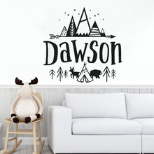 цена Customizable Name Outdoor Forest Summer Camp Wall Decal Boys and Girls Children's Room Bedroom Vinyl Wall Stickers ER27 онлайн в 2017 году