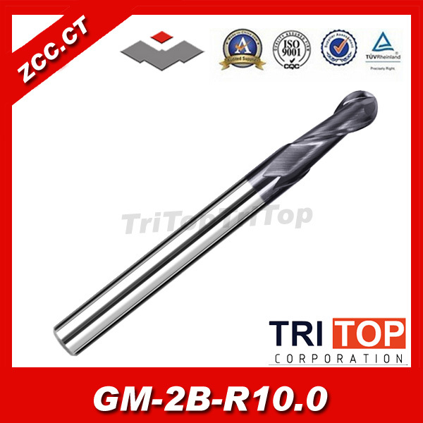 ZCC.CT GM-2B-R10.0 2 flute ball nose end mills with straight shank milling machine cnc tools gm 2b r7 0 cemented carbide high speed machining applicable 2 flute ball nose end mills straight shank cutting tools