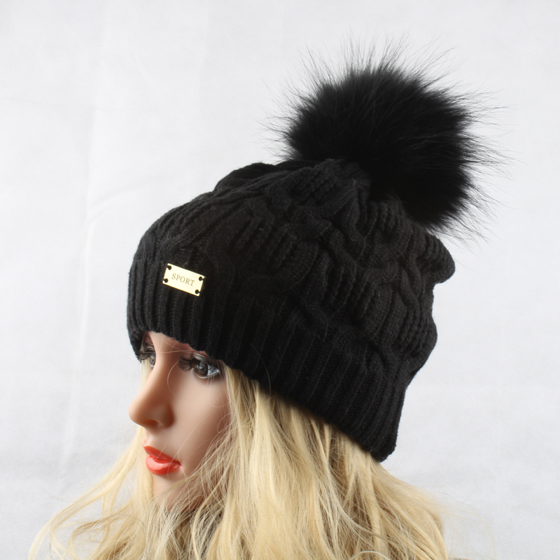 Žiemos kailių pompom skrybėlės moterims Nekilnojamasis usūrinių - Drabužių priedai - Nuotrauka 2