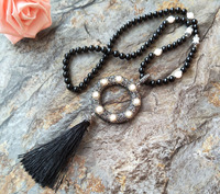 5Pcs Natural Black Stone Pearl Bead Tassel Necklace Pave Rhinestone Crystal Silk Tassel Pendant Necklaces For