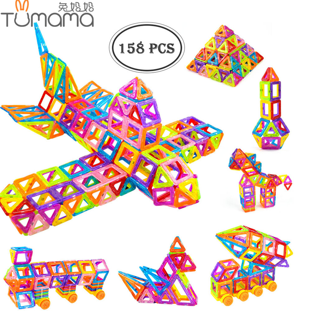 Tumama 158 шт. магнитных блоков мини DIY здания, монтаж кирпичей построить магнит 3D модель конструктора Развивающие игрушки для детей