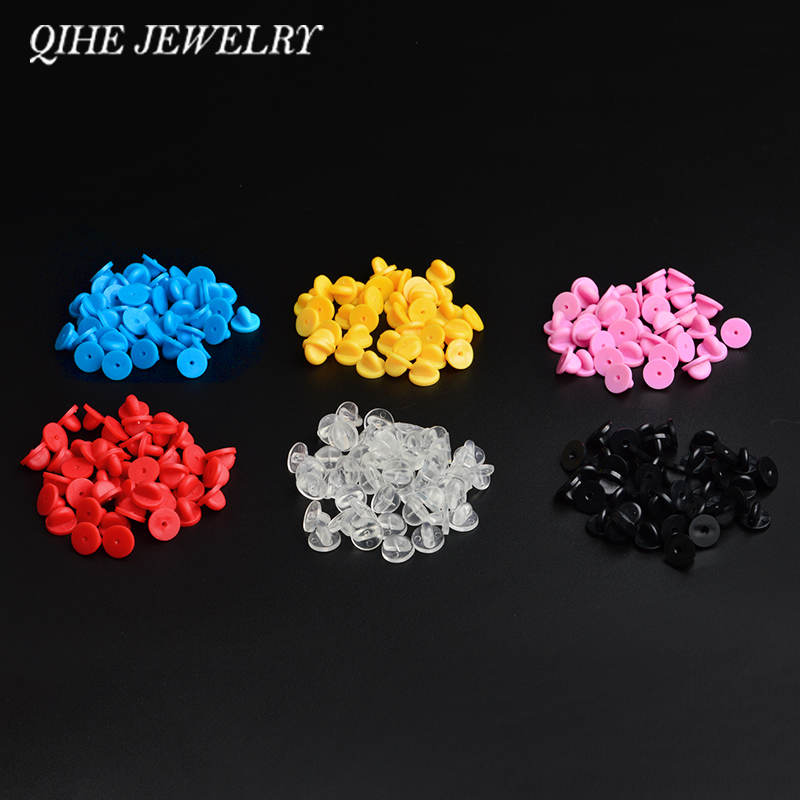 QIHE JEWELRY 30pcs/lot Metal Rubber Gold/silver/black/colorful Butterfly Buckle Pin Caps Clasp Safety Pin Jewelry Findings