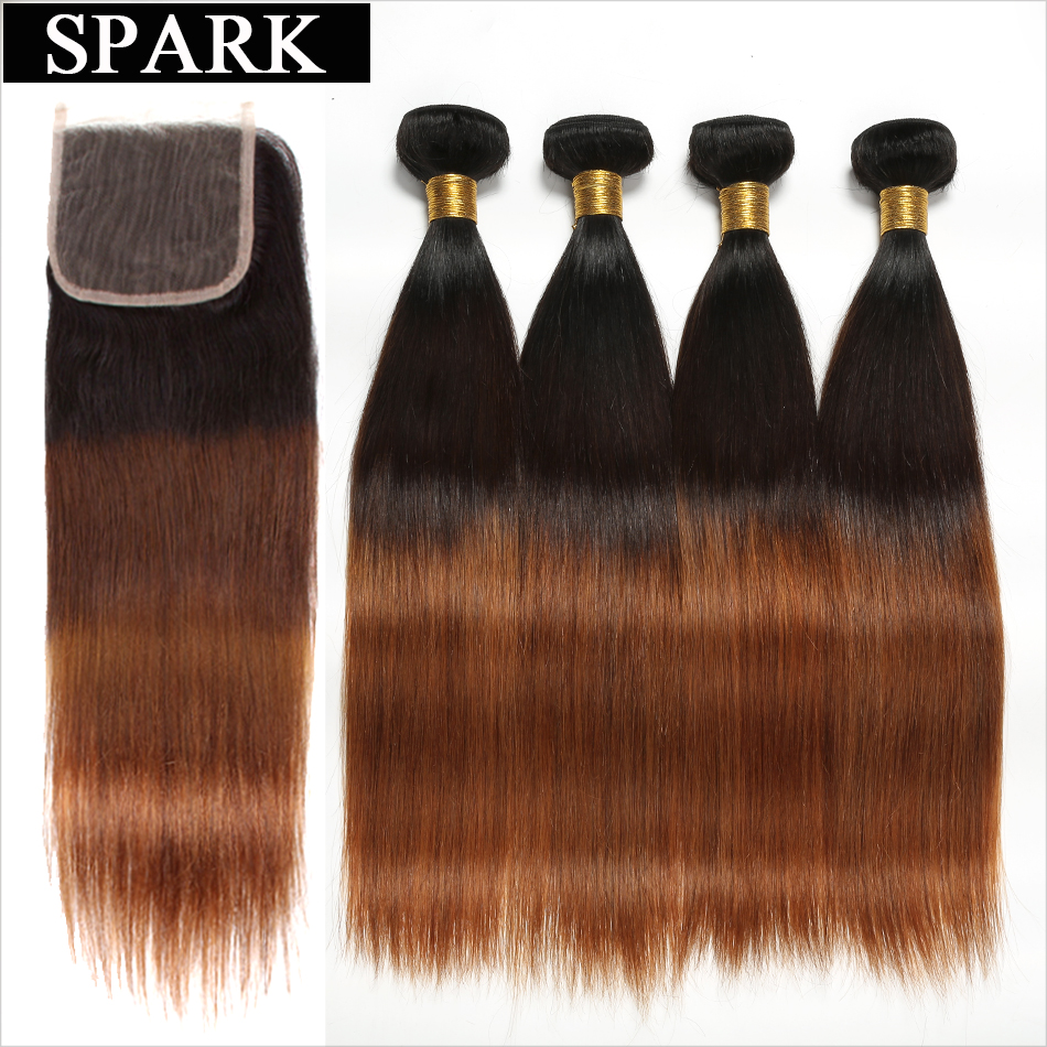 Spark Ombre 3 4 Bundles with Closure Peruvian Straight Human Hair Bundles with Lace Closure Middle