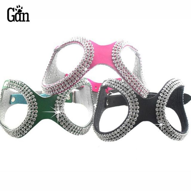 Pet Products puppy small dog harness Cow Leather Bling Rhinestone Dog Chihuahua Harness For Small Dogs collar dog leash