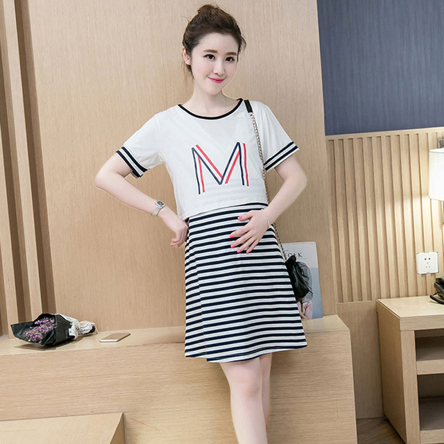 077f20600bbc7 Black Summer 2pcs Maternity Breastfeeding Nursing Dresses Pregnant Lactate Feeding  Clothes Pregnancy Wear Cotton Dress Clothing