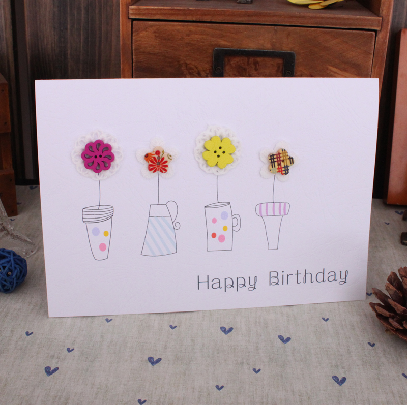 Handmade Button Color Buckle Birthday Card General Creative
