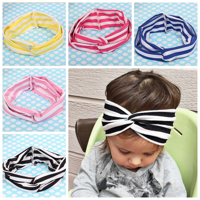 10pcs Stripe cross hair band princess girls Knot Wrap Head Sailor Knot  Turban Headband FD6552 d0f70461aae