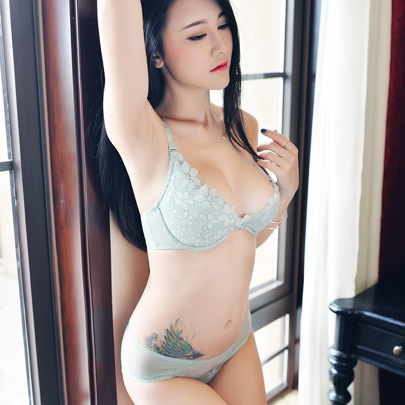 Shaonvmeiwu The new ladies thin section breathable underwear lace sexy comfortable gather mint green bra