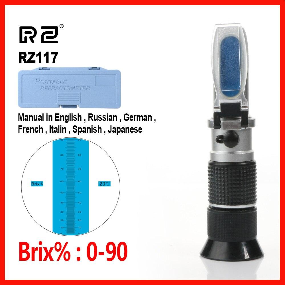 RZ alta concentración refractómetro Brix abejas azúcar alimentos bebidas ATC contenido apicultura mano 0 ~ 90% Meter herramienta RZ117
