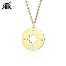 Rir Stainless Steel Compass Necklace Inspirational Wanderlust Jewelry College Graduation Gift For Her Be Brave