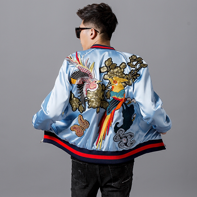 Freeship Mens Luxury Parrot Bird Flower Embroidery Light Sky Blue Casual/leisure Jacket/casual