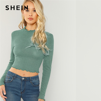 SHEIN Highstreet Green Lettuce Trim  Round Neck Solid Pullovers Crop Top 2018 Autumn Casual Women Modern Lady Tshirt Top