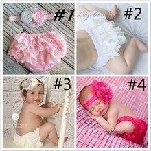 Детские хлопковые шорты с рюшами; милые кружевные трусы для малышей; трусики для новорожденных с цветочным рисунком; нижнее белье для фотосессии на 1 день рождения