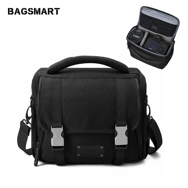 BAGSMART Waterproof Camera Bag With Rain Cover Travel Camera Messenger Shoulder Bag Camera Case