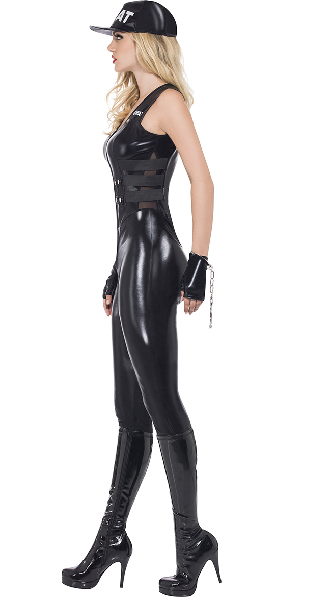 Image 4 - 2018 Sexy Women Black PU Leather SWAT Sniper Jumpsuit Halloween Cosplay Police Cop Costume Uniform-in Holidays Costumes from Novelty & Special Use