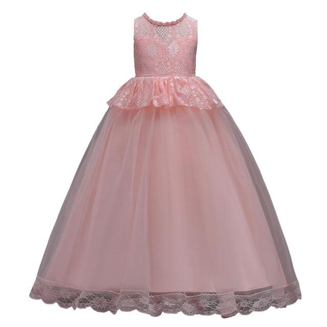 ac82c8af422 Lace Formal Evening Wedding Gown Tutu Princess Dress Flower Girls Children  Clothing Big Kids Party Dress for Girl Clothes