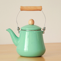Japanese style porcelain enamel tea kettle wood hanlde teapot cold pot teakettle gas induction cooker watering can 1.5L