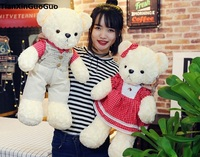 about 55cm couples bears dressed suits & red skirt teddy bear plush toy soft doll propose,birthday ,wedding gift w2705