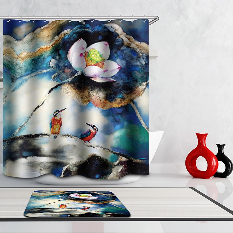 Productos de baño de Poliéster Impresa Cortina de Ducha Cortina de Baño de Estil