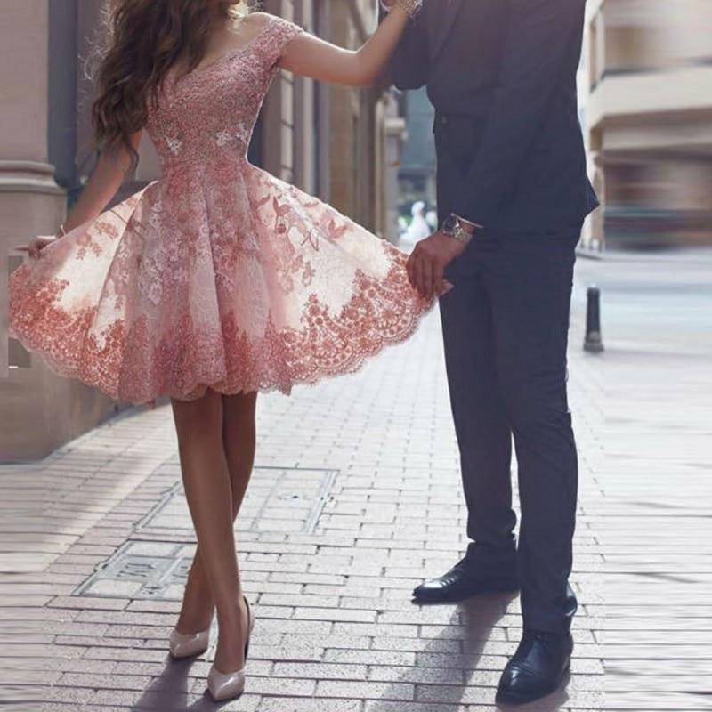 Taohill Lace Cocktail Dress 2019 Applique Pink Short Prom Dress Party Cocktail Dresses Cap Sleeves Vestidos De Coctel Robe Cocktail Dresses