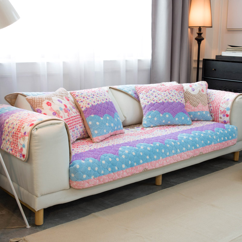 Pink Sofa Cover: Pink Flower Sofa Cover Towel Patchwork Quilting Slip