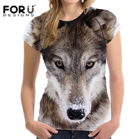 4b9cc1d8b0 FORUDESIGNS 3D Harajuku Wolf Women T Shirt Female Summer Tops Tees Women S  Shirts For Girls