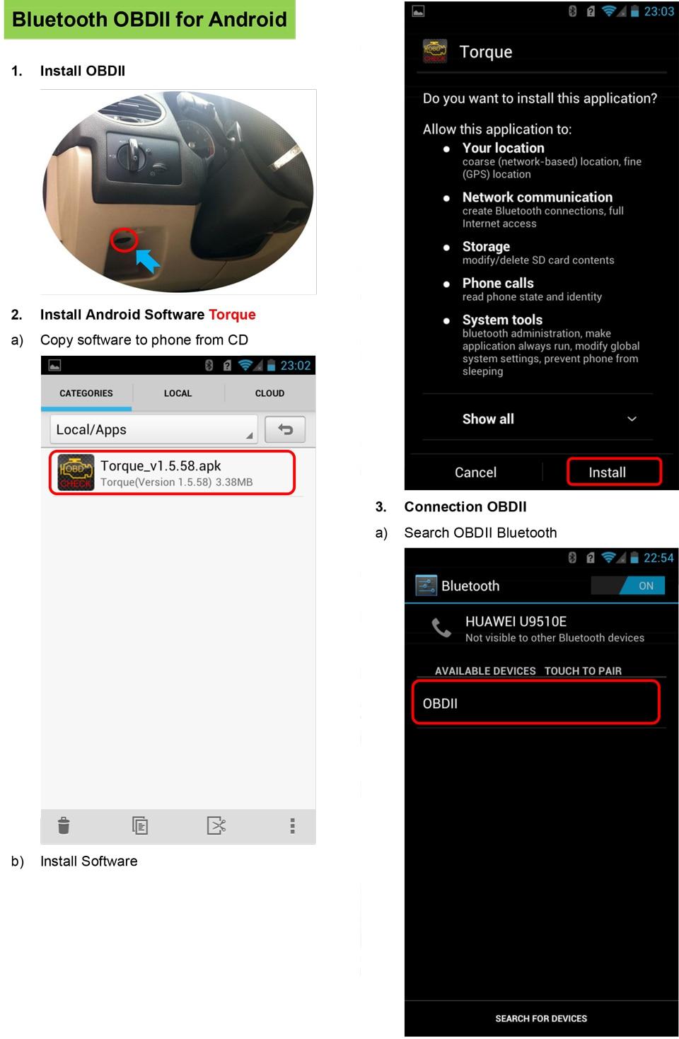 1 )elm327 Bluetooth-OBDII