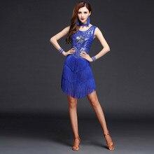 Ballroom Dance Competition Dresses Sequins Fringe Tassel Dance Skirts Tango Salsa Latin Tango Dance Dresses For Women A11