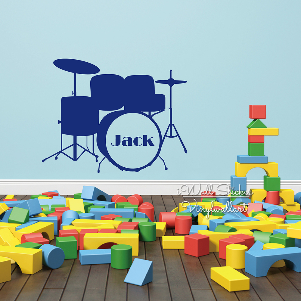 Drum Wall Decal Baby Nursery Drum Name Wall Sticker Creative Boys Name Wall Sticker Kids Room Cut Vinyl Sticker C45