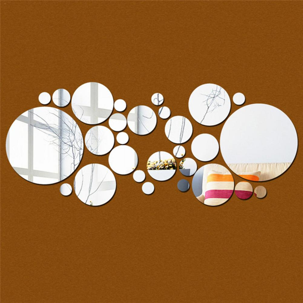 30pc/set DIY Small Round Point Acrylic Mirror Effect Sticker Wall Sticker Mirror Surface Wall Stickers Home Decoration 2 Colors-in Wall Stickers from Home & Garden