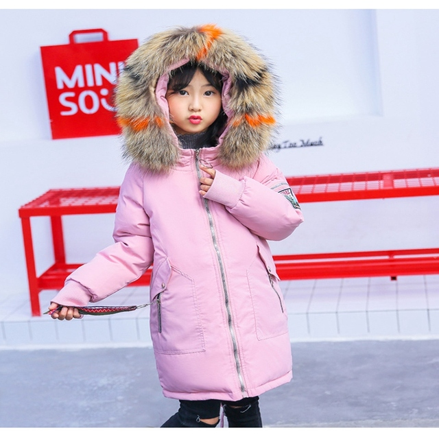 2019 Winter Girl Down Jackets Parkas fur Big Girl snow wear thick Warm Girls duck Down feather Coats Outerwears winter -30degree