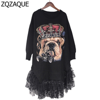 2016 Women S High Quality Manual Beaded Rivets Dog Pattern Sweatshirts Long Sleeved Lace Patchwork Fashion