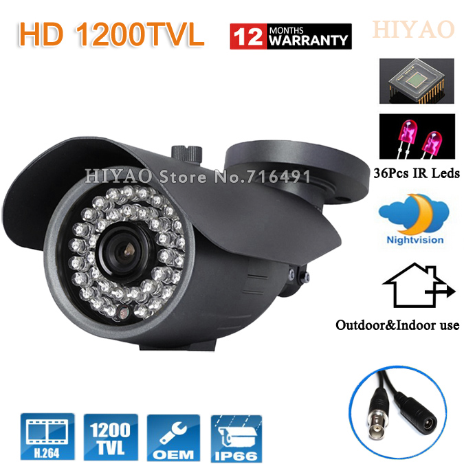 Free shipping 1200TVL 36 LED Color Night Vision Indoor/Outdoor security Sony CMOS IR surveillance CCTV Camera with bracket 1 3 sony cmos 1200tvl cctv security camera metal ip66 24 led color ir night vision surveillance home outdoor video camera