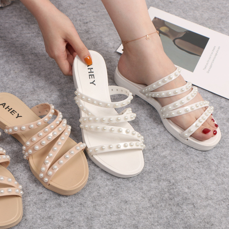 3e772ead338 Hot Sale] 2019 summer multi color pearl sandals and slippers women's ...