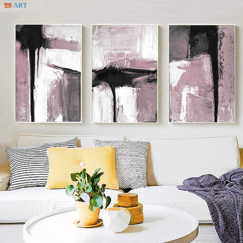 Minimalist Abstract Canvas Painting Poster Print Black White Pink Wall Art Pictures For Living Room Scandinavian Decor