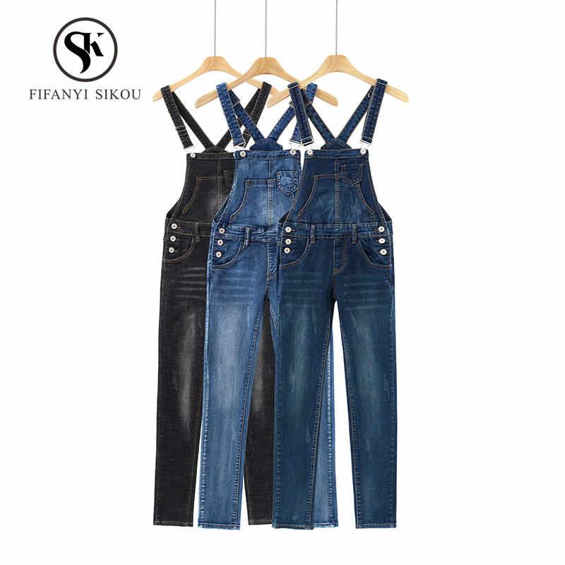 2019 весна лето новый милый джинсовые комбинезон женщин модные повседневные Прямые Джинсы без рукавов Комбинезоны женские Комбинезоны облегающие комбинезоны