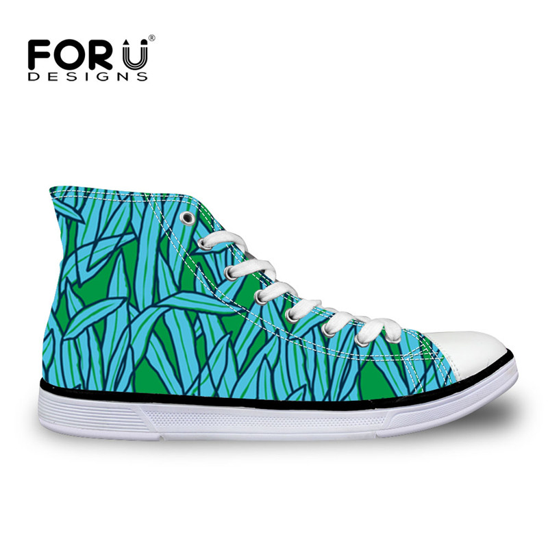 FORUDESIGNS Women's Shoes Flats Green Leaf Blades Printing High Top Vulcanized Shoes Platform Canvas Sneakers Casual Comfortable mint green casual sleeveless hooded top