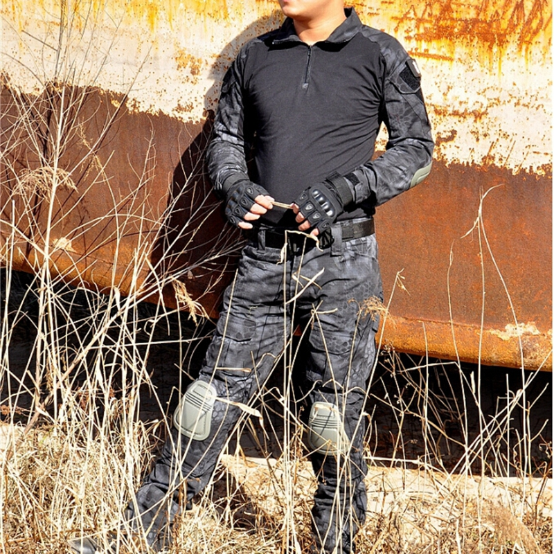 Kryptek Mandrake Typhon Uniform Tactical Military Combat Shirt + Pants Paintball Hunting Army Uniform with Knee Pads аксессуар зажим клипса lumiix gp150 quickclip для gopro hero 1 2 3 3