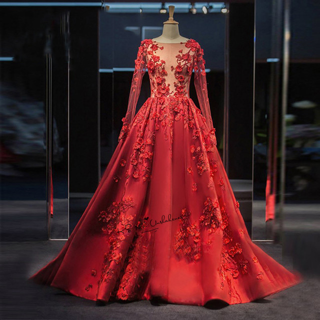 35f567e9b أحمر طويل الأكمام الرباط أثواب السهرة الرسمية 3d الزهور الحرير رؤية حتى  أنيقة فساتين السهرة 2018