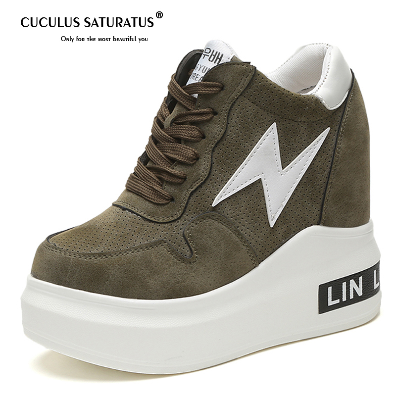 Cuculus 2019 Spring Autum Woman Platforms Shoes Women Retro Shoes Woman Lace-Up <font><b>12</b></font> <font><b>cm</b></font> <font><b>High</b></font> <font><b>Heels</b></font> Height Increasing Boots 1580 image