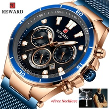 лучшая цена REWARD Stainless Steel Chronograph Men Watch Date Military Watches Sport Waterproof Male Quartz Men's Watch Relojes Hombre 2019