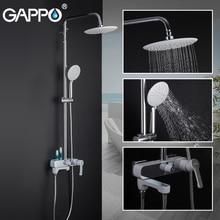 Gappo chuveiro torneiras do banheiro cromo branco conjunto de chuveiro banho misturador do banheiro sistema de chuveiro G2402 8